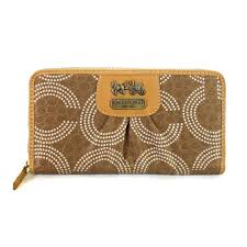 Coach Dot Logo Monogram Large Yellow Wallets EDH