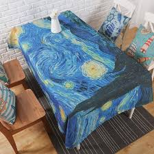 dropwow art oil painting star apricot table cloth thick linen customize dining coffee tablecloth restaurant home decorative cloth cover
