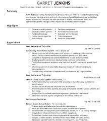 Maintenance Technician Resume New Maintenance Technician Resume