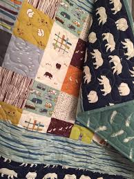 Woodland Baby Quilt, Organic Baby Quilt, Rustic Baby Quilt, Baby ... & Woodland Baby Quilt, Organic Baby Quilt, Rustic Baby Quilt, Baby Bedding,  Crib Bedding, Nursery Quilt, Bear, Fishing, Camping, Fox, Navy Adamdwight.com