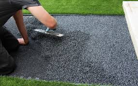 steps and equipment for installing a rubber floor surface