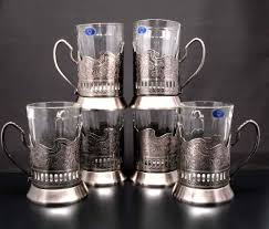 combination of 6 russian graneniy square faceted drinking tea glasses w metal glass holders podstakannik for hot or cold liquids