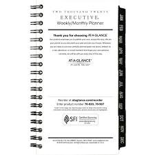 At A Glance Executive Pocket Size Weekly Monthly Planner Refill 3 1 4 X 6 1 4 White 2019