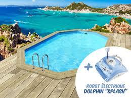 Piscine Bois Bal Ares 6 50 X 4 40 X 1 31 M Robot Dolphin
