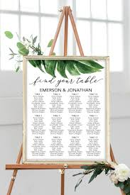 Poster Seating Charts For Wedding Receptions Palm Leaf Seating Chart
