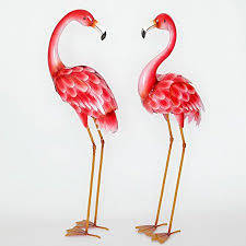 flamingo garden statue.  Flamingo Bits And Pieces  Set Of Two 2 Metal Flamingo Garden Statues Durable To Statue