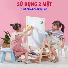 Bảng flipchart 2 mặt cho bé tập vẽ, đồ chơi giáo dục cơ bản, khung gỗ