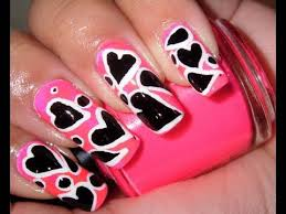 Hot Pink With Black And White Hearts Nail Design Youtube