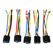 5 pcs 5 pin cable relay socket harness connector dc 12v for car ts product car relay socket harness voltage dc 12v 5 pins relay socket great for adding car stereo alarm system remote start fog lights