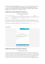 Sample Experience Certificate Format For School Teacher Documents