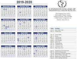 2019 2020 Calendar Canadian College Of Traditional Chinese