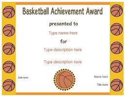 Sports Certificates Basketball Award Certificatestreet Com
