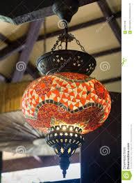 Innenraum Der Hängende Laternen Lampen Verziert Stockfoto Bild