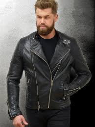 patton black leather designer biker jacket for men