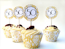Instant Download 50th Anniversary Diy Cupcake Decorations
