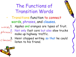 words to add compare contrast exemplify summarize and  the functions of transition words