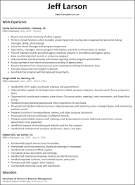 Resume For Office Assistant Resumes Administrative Position