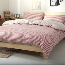 100 cotton jersey knitted fabric 4pcs red stripe duvet cover with solid color bedsheet double bed set in bedding sets from home garden on aliexpress com