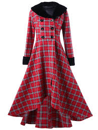 plus size double ted checked swing coat