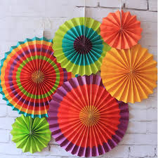 6 pieces beautiful hangings colorful paper fan for birthday party and kindergarten celebration decoration handmade paper