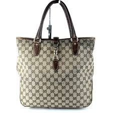 authentic gucci gg beige canvas brown leather tote hand bag purse italy