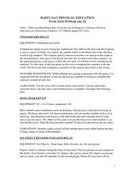 Pe Lesson Plan Rainy Day Physical Education Lesson Plan For Kindergarten