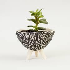 black and white pottery planter textured ceramics ceramic