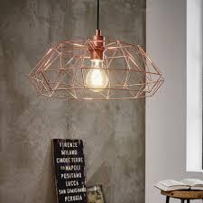 carlton 2 copper coloured cage pendant light