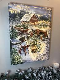 Lighted Christmas Artwork Christmas Tree Farm Illuminated Fine Art