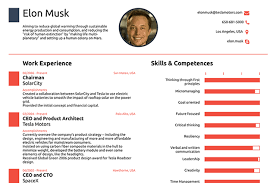 Elon Musk's resume, created by Novoresume.com