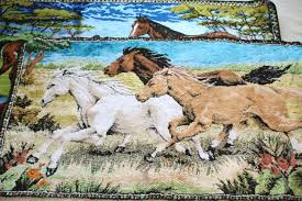 italian velvet tapestries w horses mustangs wall hanging rugs for vintage bohemian western decor