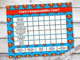 Superman Chore Chart Boys Reward Chart Responsibility Chart Weekly Chore Chart Behavior Chart Chore Chart For Kids You Edit Pdf