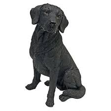 dog garden statue. Black Labrador Retriever Dog Garden Statue
