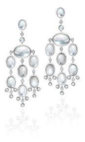 e0244 rock crystal and diamond oval bubble chandelier earrings