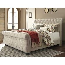 ashley furniture willenburg king upholstered bed in linen  local