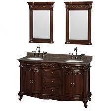 edinburgh 60 double sink bathroom vanity in cherry brown granite top