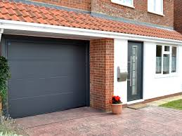 hormann thermopro entrance door style 700 in anthracite grey ral 7016 with matching sectional garage door