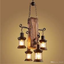 Großhandel 4 Köpfe Industrielle Vintage Retro Holz Metall Malerei Kronleuchter Licht Pendelleuchte Für Haus Hotel Bar Garage Dekorieren Leuchte