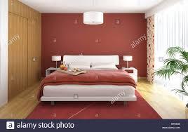 Interior Design Der Moderne Schlafzimmer In Rot Weiß Und Holz Mit