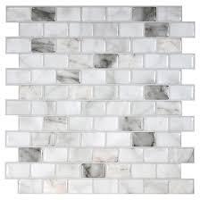 smart tiles self adhesive wall tile ravenna blanco marble 6 pack sm1098 6 rona