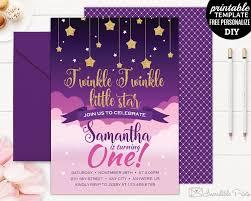 Girl Birthday Invitation Template Twinkle Little Star Birthday Invitation Template Twinkle