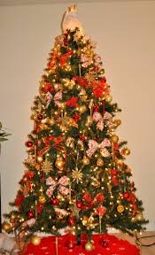 ... Delectable Look Of Red And Gold Christmas Tree Decorating Ideas :  Classy Decoratig Ideas Using Triangle ...