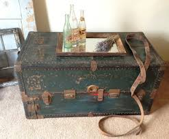 ... Dark Green Rectangle Wooden Vintage Trunk Coffee Table With Tray Ideas  To Complete Your ...