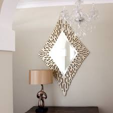 gold diamond shaped mirror  contemporary mirrors  free uk delivery