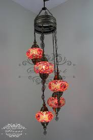 5 ball turkish mosaic chandelier with large globes