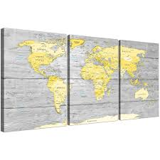 oversized yellow grey large yellow grey map of world atlas canvas wall art print maps canvas display gallery item 1  on large grey canvas wall art with large yellow grey map of world atlas canvas wall art print