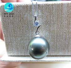 attracting large black pearl pendant 13 14mm necklace chain