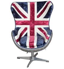 a vibrant and comfortable chair with the union jack on it