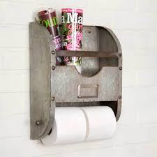 Toilet Paper Holder With Magazine Rack Rebecca Farmhouse Style Galvanized Metal Toilet Paper Holder And 57