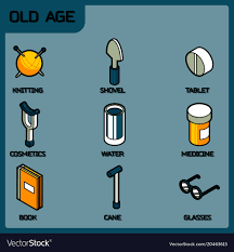 old age color outline isometric icons vector image